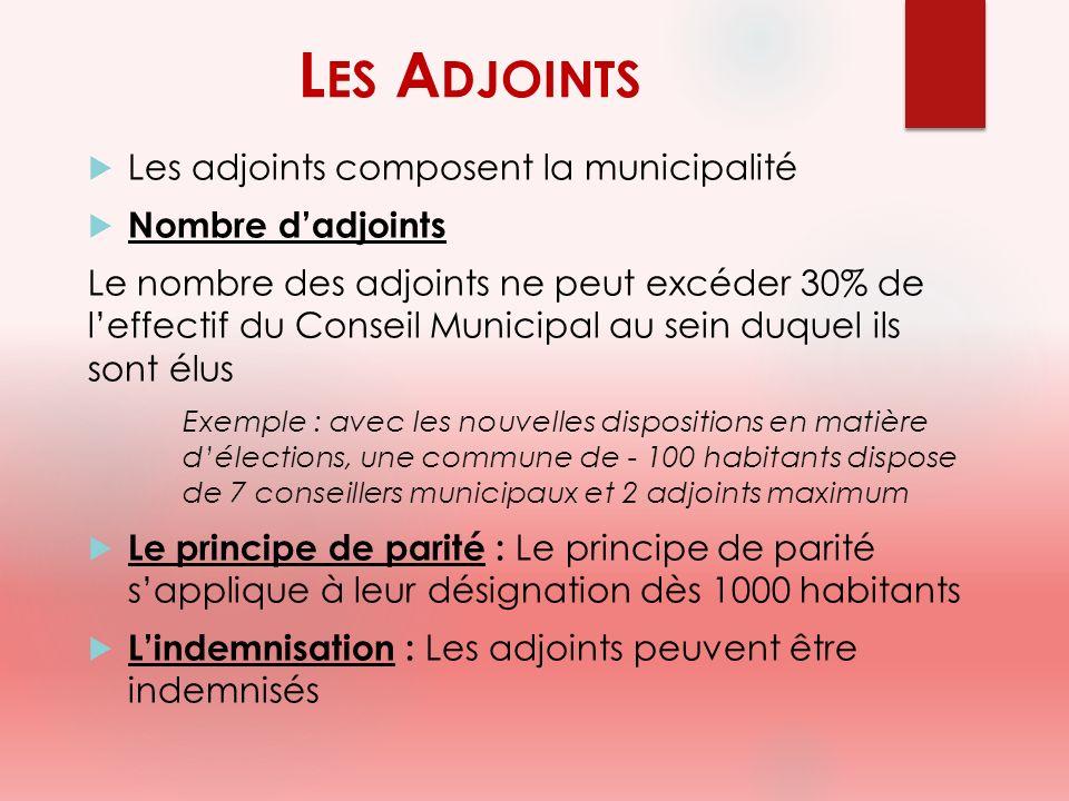 Les Adjoints Les adjoints composent la municipalité Nombre d'adjoints