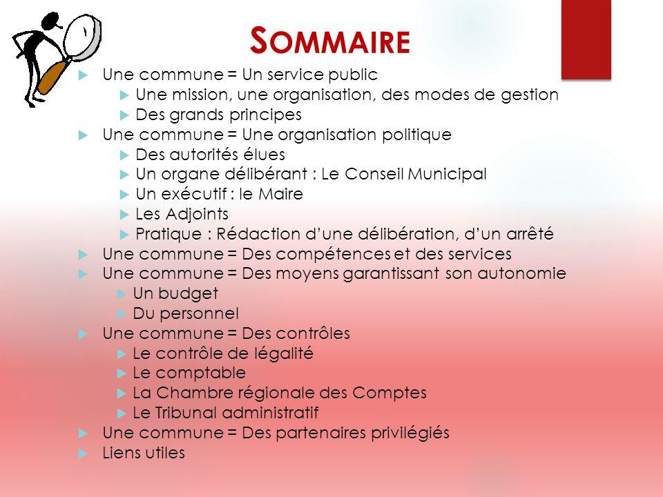 Sommaire Une commune = Un service public
