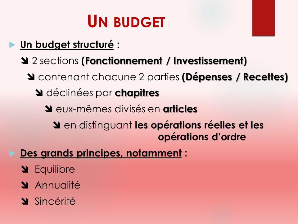 Un budget Un budget structuré :