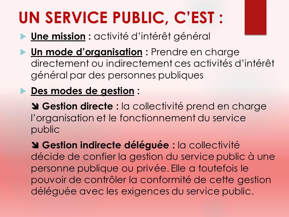 UN SERVICE PUBLIC, C'EST :