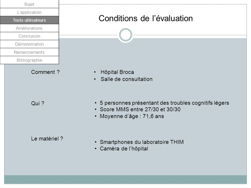 Conditions de l'évaluation