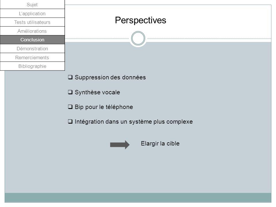 Perspectives Suppression des données Synthèse vocale