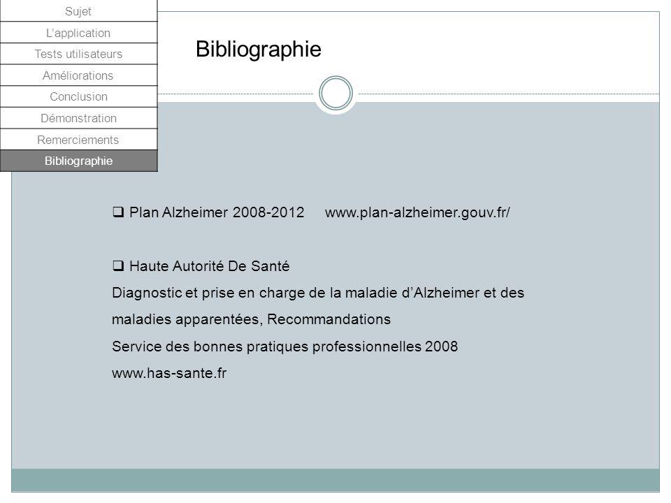 Bibliographie Plan Alzheimer 2008-2012 www.plan-alzheimer.gouv.fr/