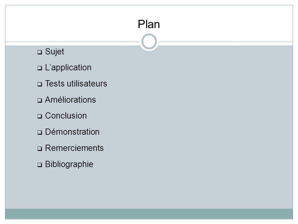 Plan Sujet L'application Tests utilisateurs Améliorations Conclusion