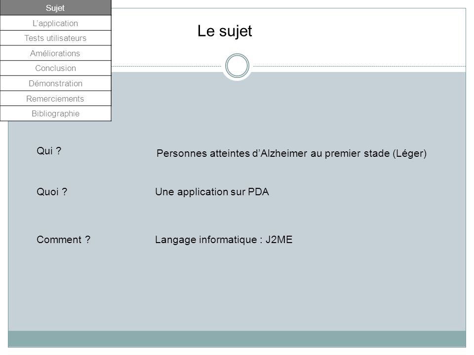 Sujet L'application. Tests utilisateurs. Améliorations. Conclusion. Démonstration. Remerciements.
