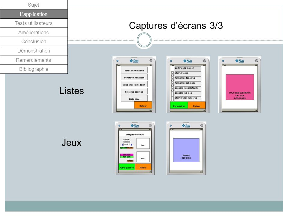 Captures d'écrans 3/3 Listes Jeux Sujet L'application