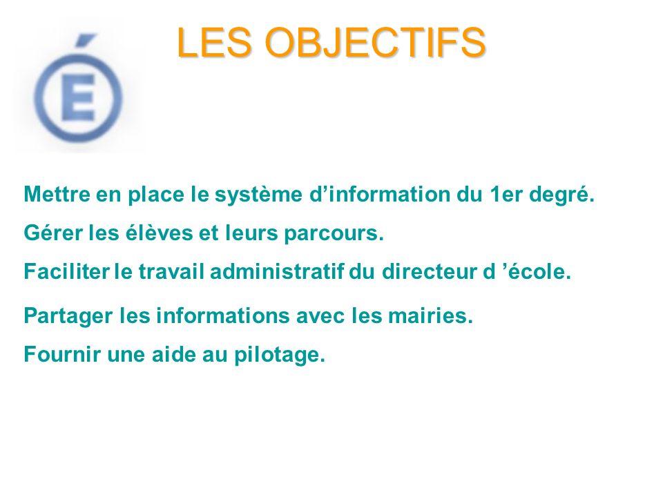 LES OBJECTIFS Mettre en place le système d'information du 1er degré.