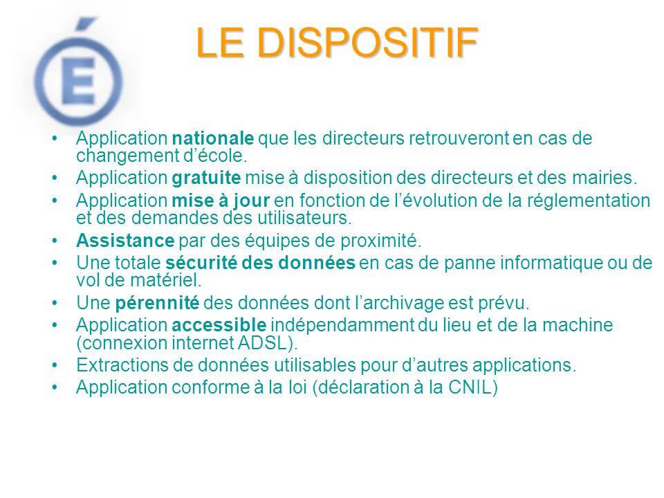 LE DISPOSITIF Application nationale que les directeurs retrouveront en cas de changement d'école.