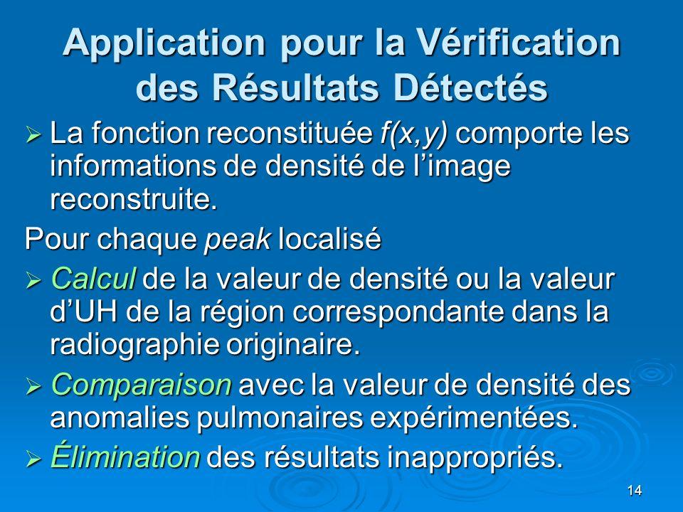Application pour la Vérification des Résultats Détectés