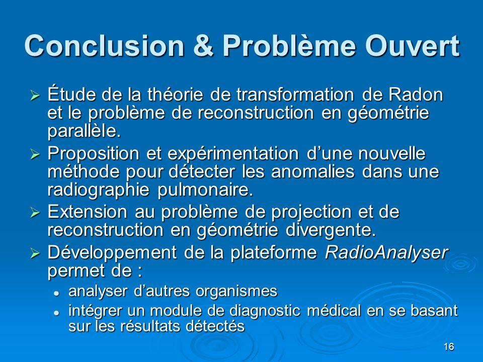 Conclusion & Problème Ouvert