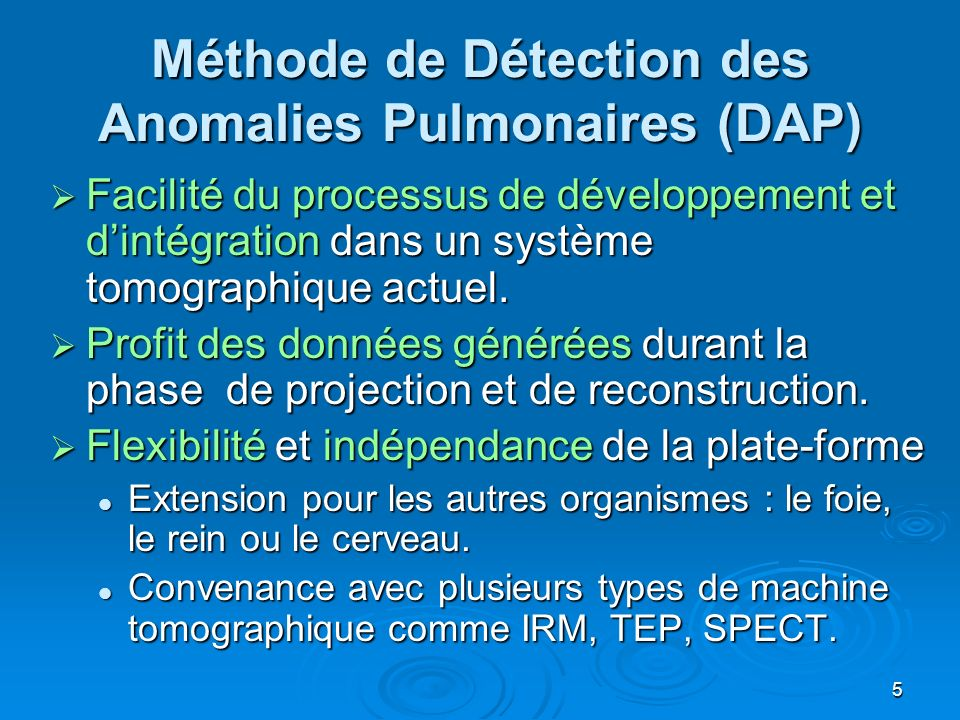 Méthode de Détection des Anomalies Pulmonaires (DAP)