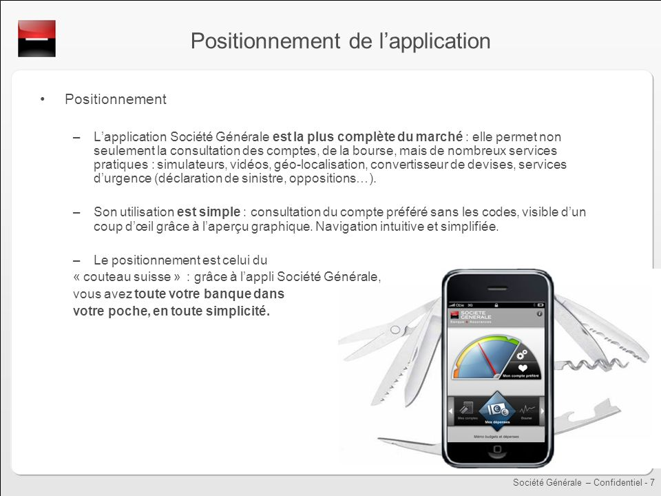 Positionnement de l'application