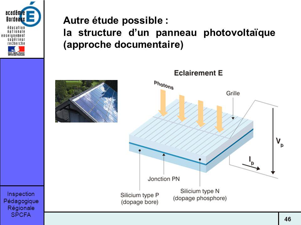 Autre étude possible : la structure d'un panneau photovoltaïque (approche documentaire)