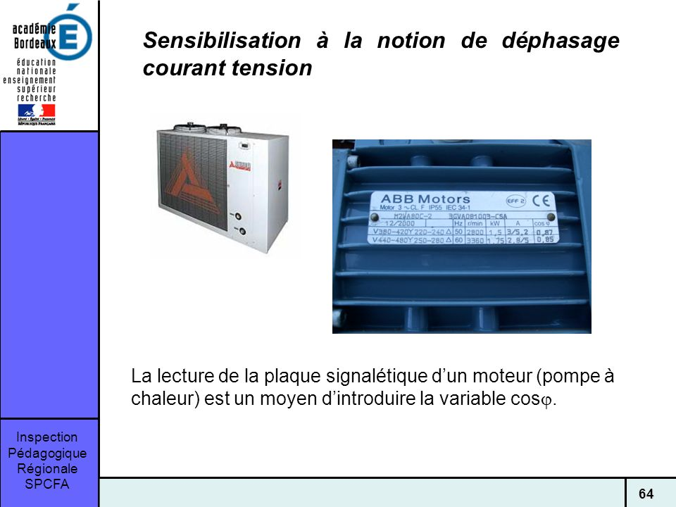 Sensibilisation à la notion de déphasage courant tension