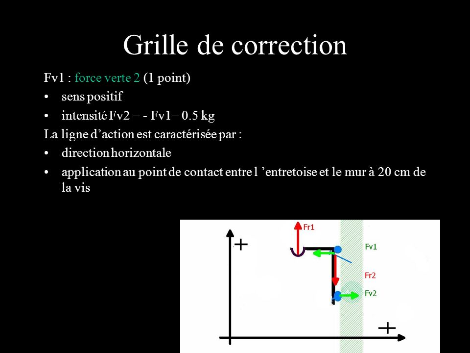 Grille de correction Fv1 : force verte 2 (1 point) sens positif
