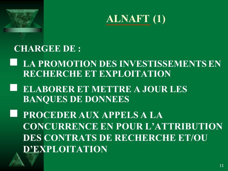 ALNAFT (1) CHARGEE DE : LA PROMOTION DES INVESTISSEMENTS EN RECHERCHE ET EXPLOITATION. ELABORER ET METTRE A JOUR LES BANQUES DE DONNEES.