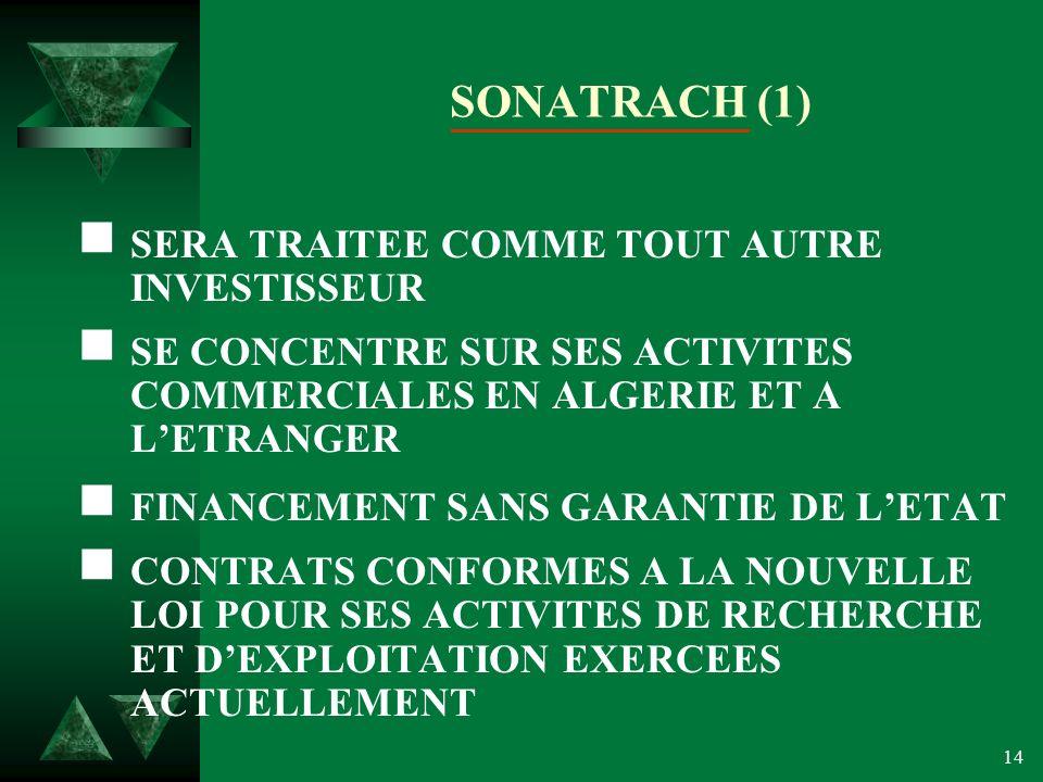 SONATRACH (1) SERA TRAITEE COMME TOUT AUTRE INVESTISSEUR