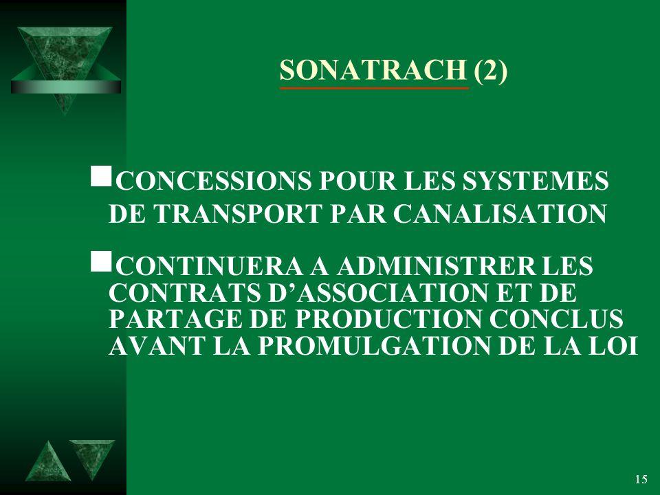 SONATRACH (2) CONCESSIONS POUR LES SYSTEMES DE TRANSPORT PAR CANALISATION.