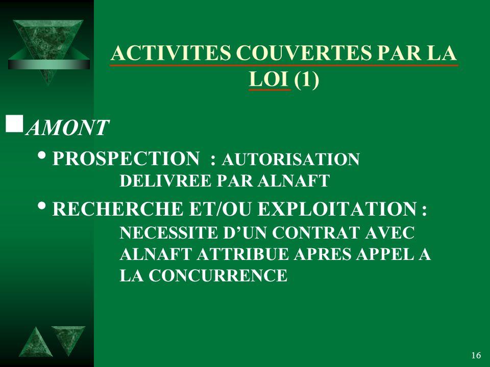 ACTIVITES COUVERTES PAR LA LOI (1)