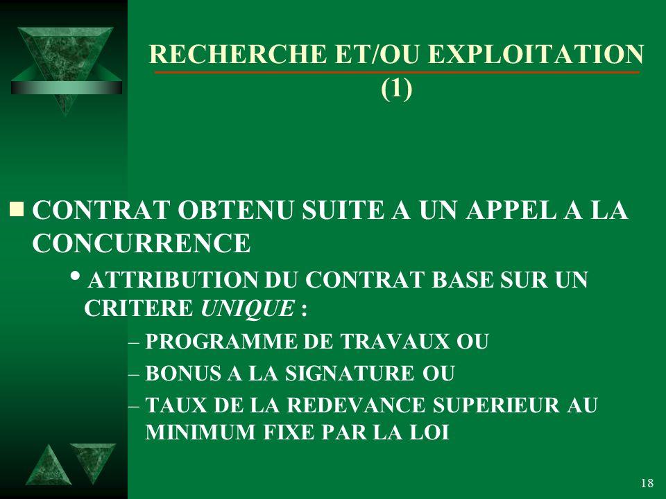 RECHERCHE ET/OU EXPLOITATION (1)