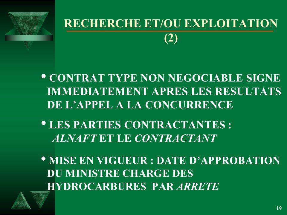 RECHERCHE ET/OU EXPLOITATION (2)