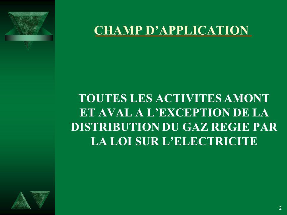 CHAMP D'APPLICATION TOUTES LES ACTIVITES AMONT ET AVAL A L'EXCEPTION DE LA DISTRIBUTION DU GAZ REGIE PAR LA LOI SUR L'ELECTRICITE.