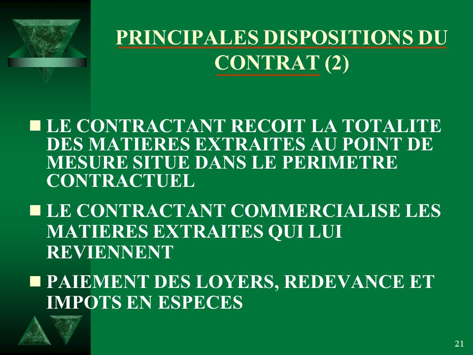 PRINCIPALES DISPOSITIONS DU CONTRAT (2)