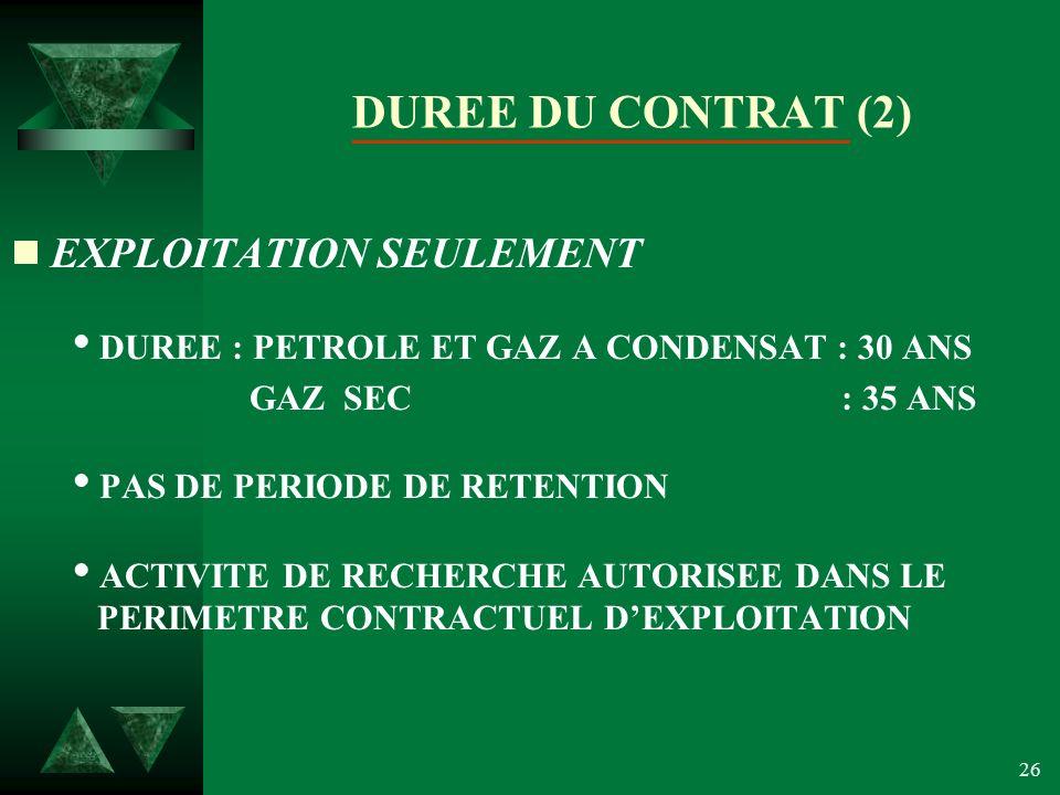 DUREE DU CONTRAT (2) EXPLOITATION SEULEMENT