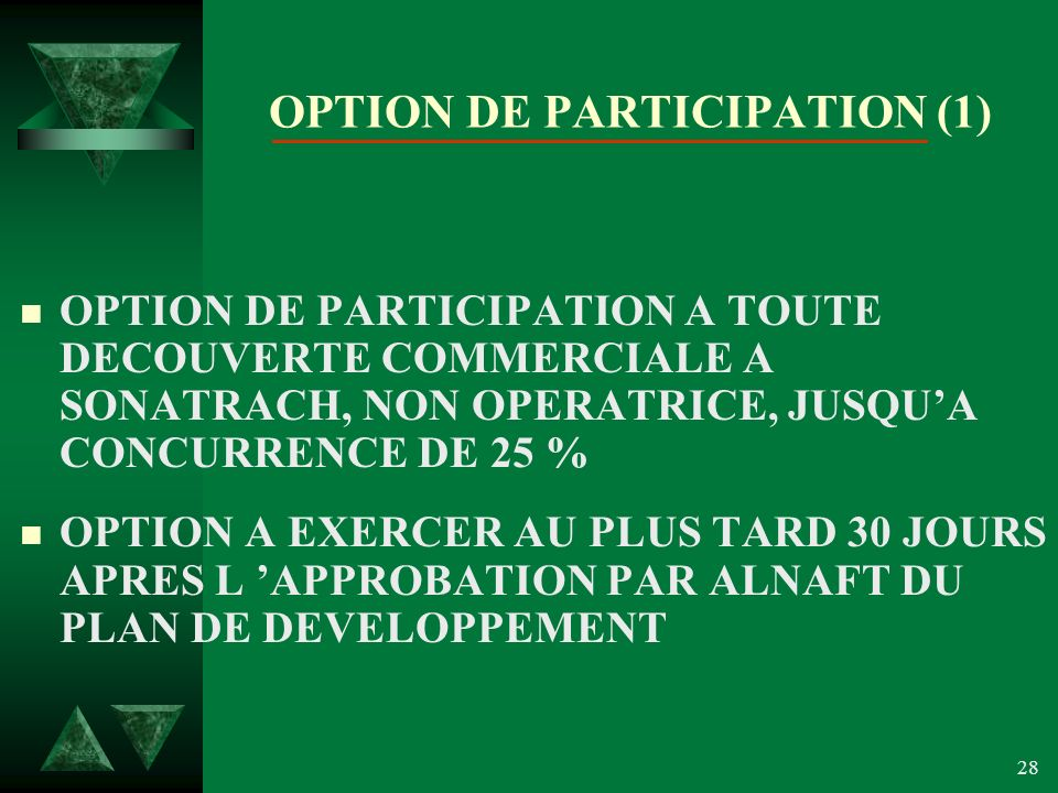OPTION DE PARTICIPATION (1)