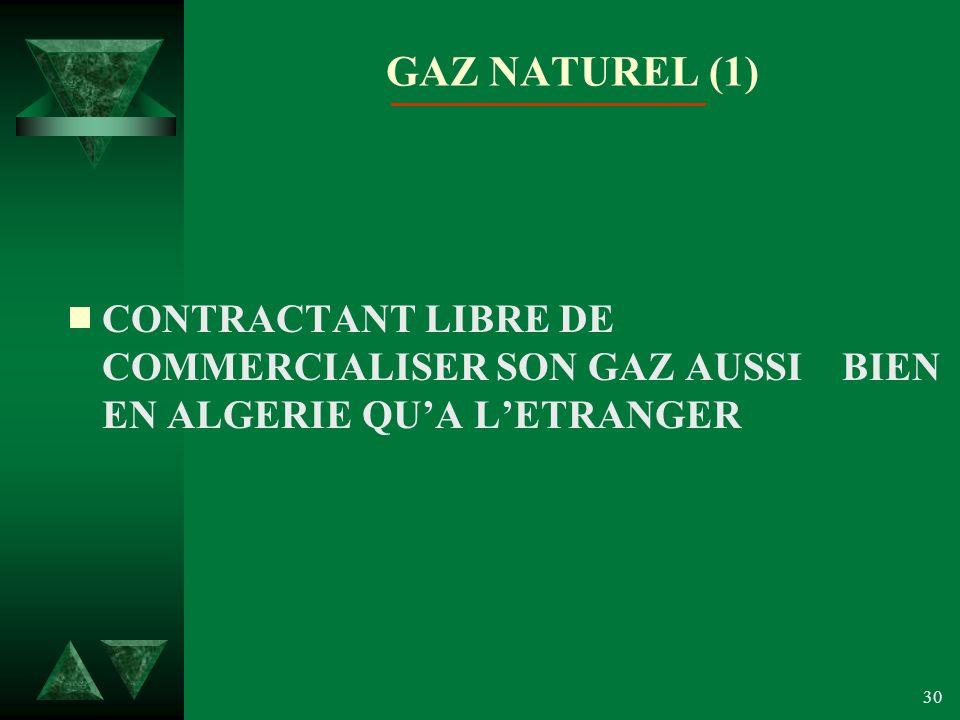 GAZ NATUREL (1) CONTRACTANT LIBRE DE COMMERCIALISER SON GAZ AUSSI BIEN EN ALGERIE QU'A L'ETRANGER.