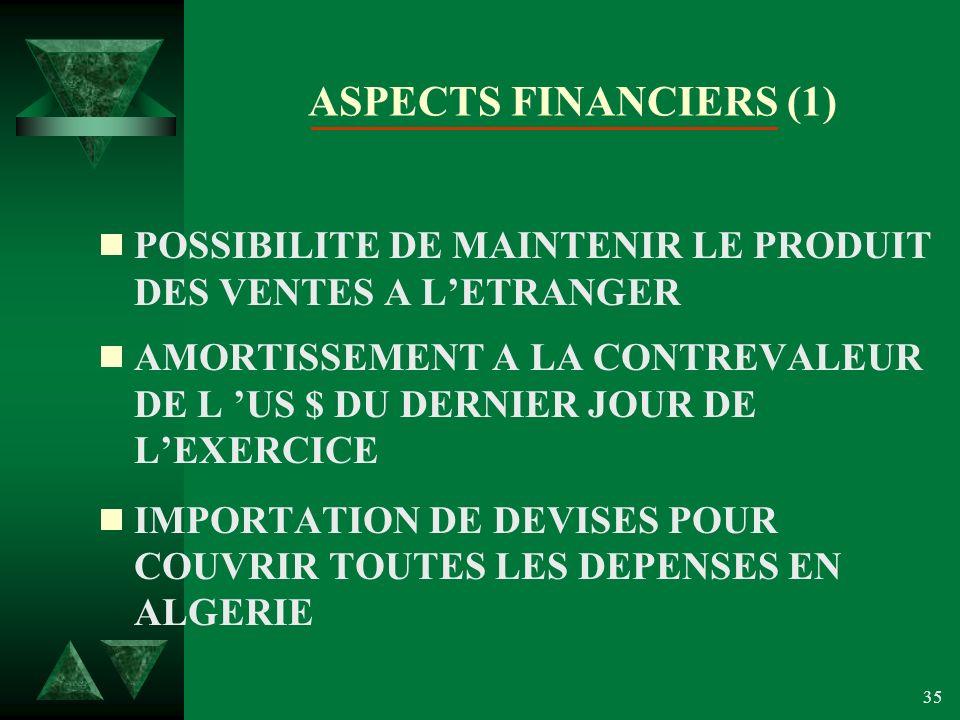 ASPECTS FINANCIERS (1) POSSIBILITE DE MAINTENIR LE PRODUIT DES VENTES A L'ETRANGER.