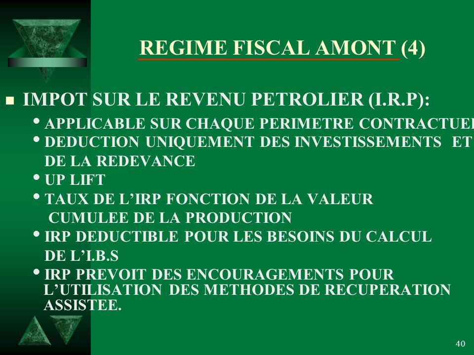 REGIME FISCAL AMONT (4) IMPOT SUR LE REVENU PETROLIER (I.R.P):