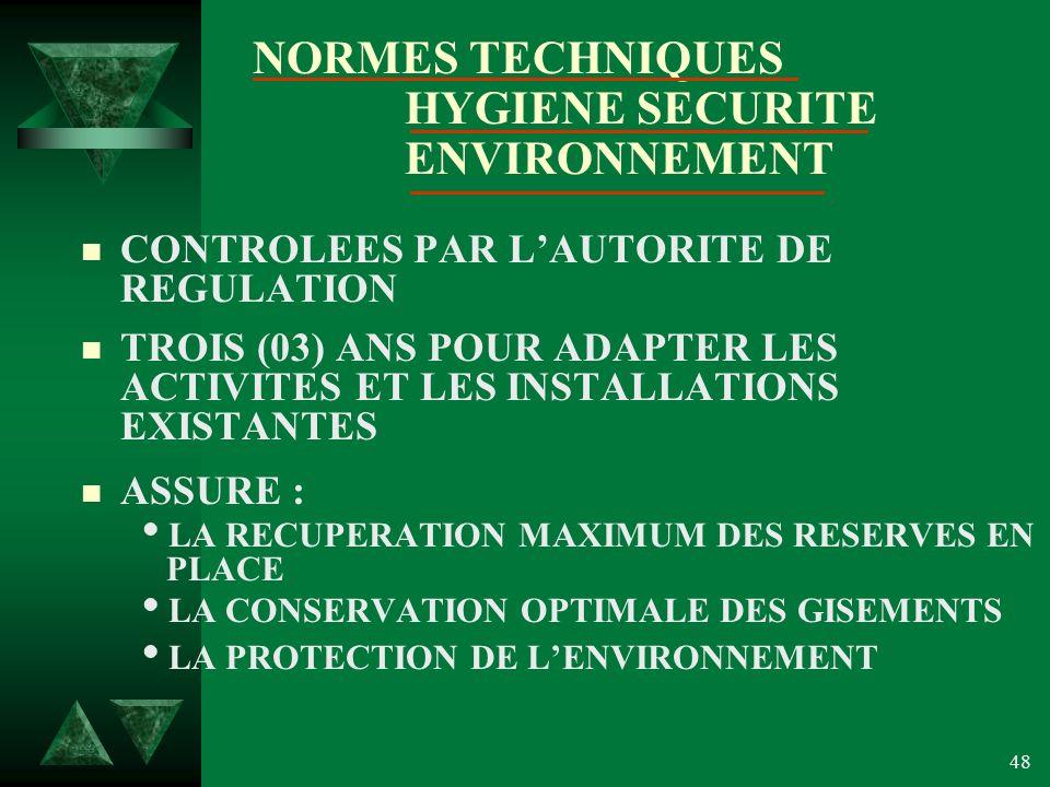 NORMES TECHNIQUES HYGIENE SECURITE ENVIRONNEMENT
