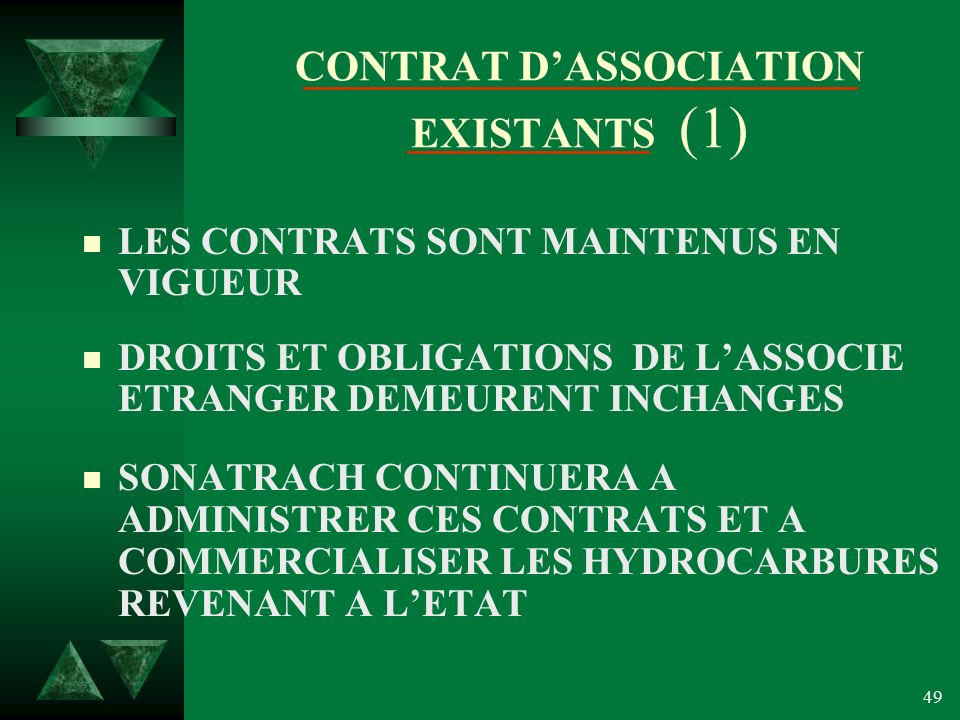 CONTRAT D'ASSOCIATION EXISTANTS (1)