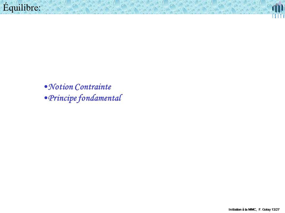 Équilibre: Notion Contrainte Principe fondamental