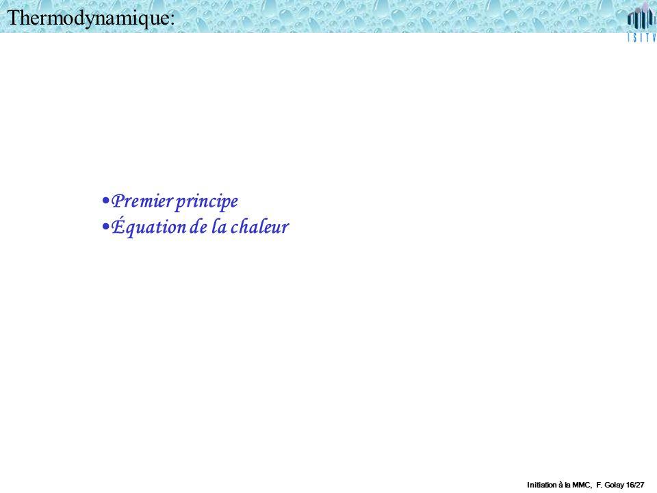 Thermodynamique: Premier principe Équation de la chaleur