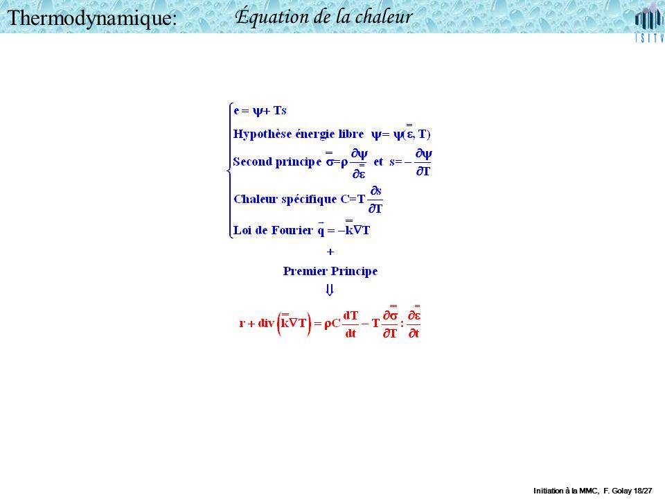 Thermodynamique: Équation de la chaleur