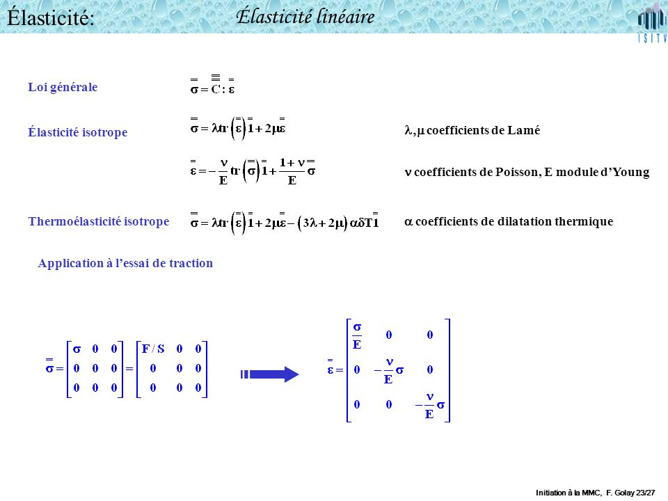 Élasticité: Élasticité linéaire Loi générale Élasticité isotrope