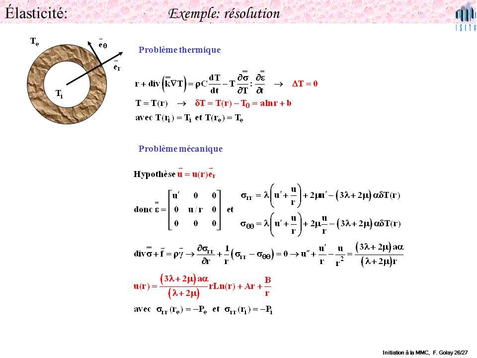 Élasticité: Exemple: résolution Problème thermique Problème mécanique