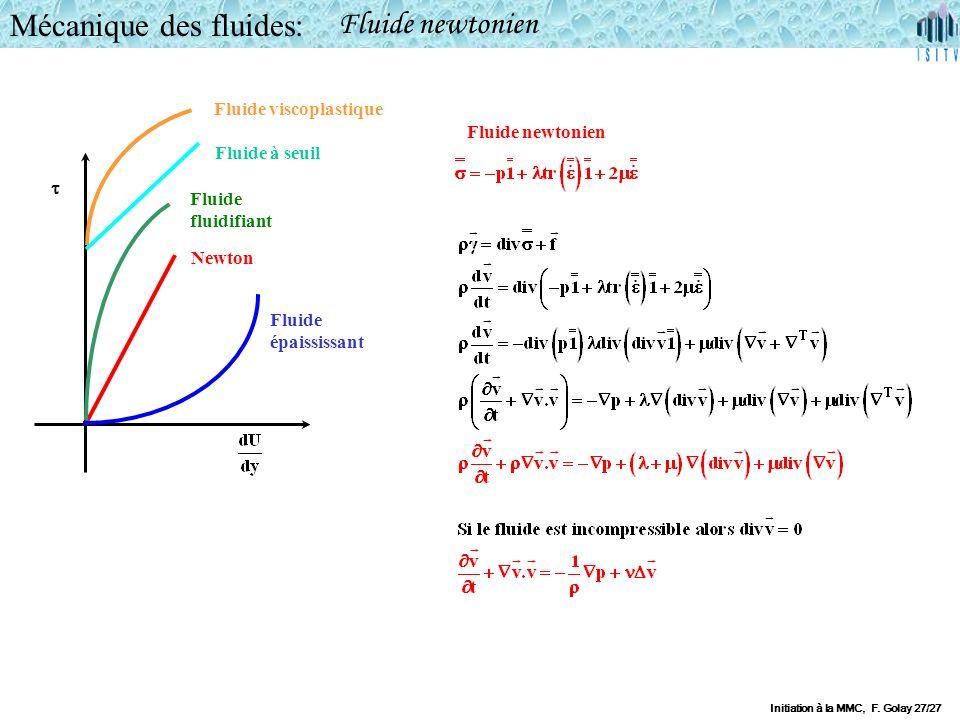 Mécanique des fluides: Fluide newtonien