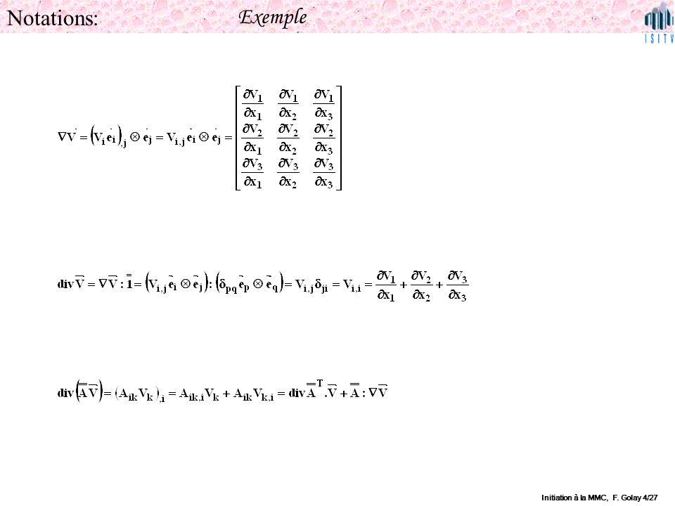 Notations: Exemple Initiation à la MMC, F. Golay 4/27