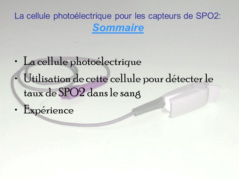 La cellule photoélectrique pour les capteurs de SPO2: Sommaire