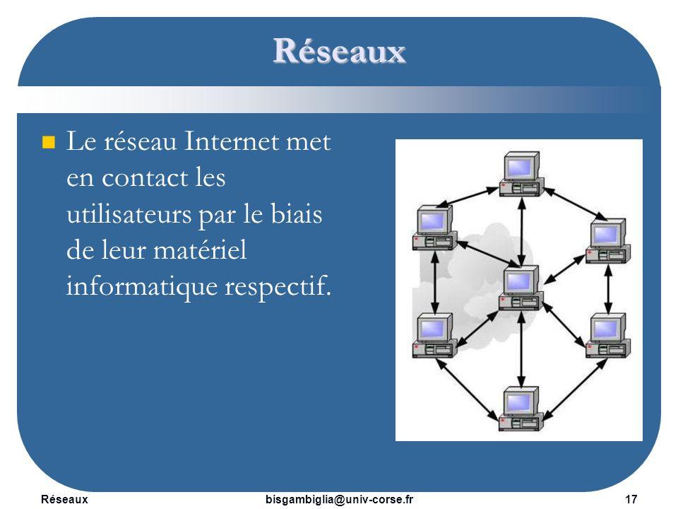 Réseaux Le réseau Internet met en contact les utilisateurs par le biais de leur matériel informatique respectif.