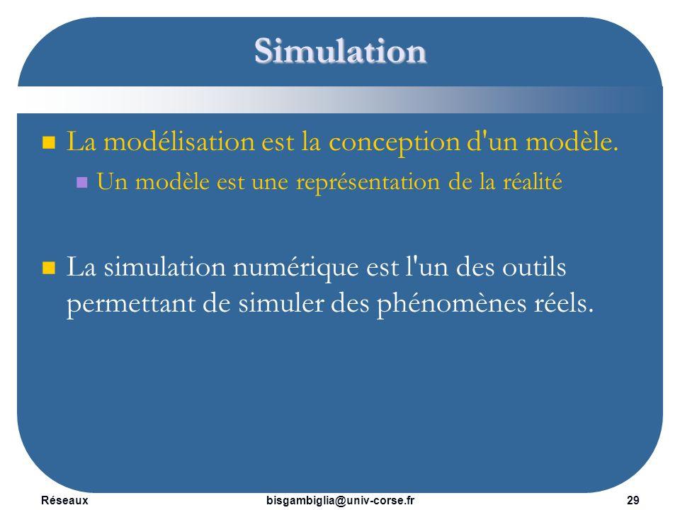 Simulation La modélisation est la conception d un modèle.