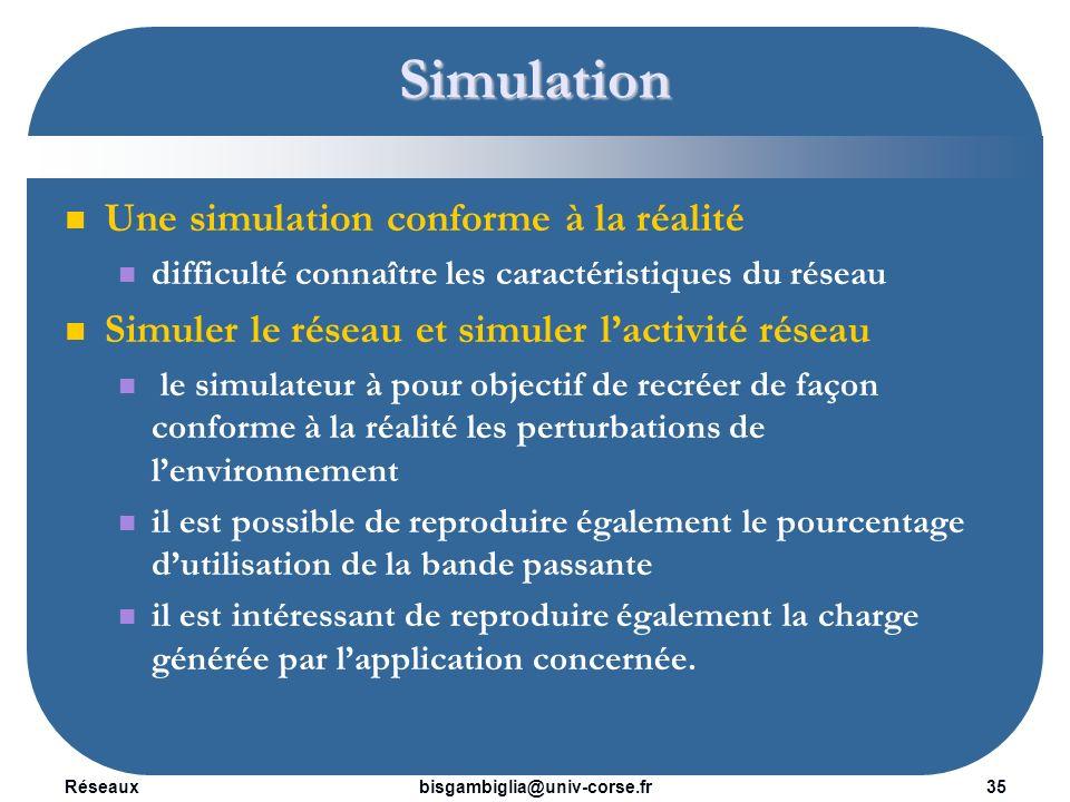 Simulation Une simulation conforme à la réalité