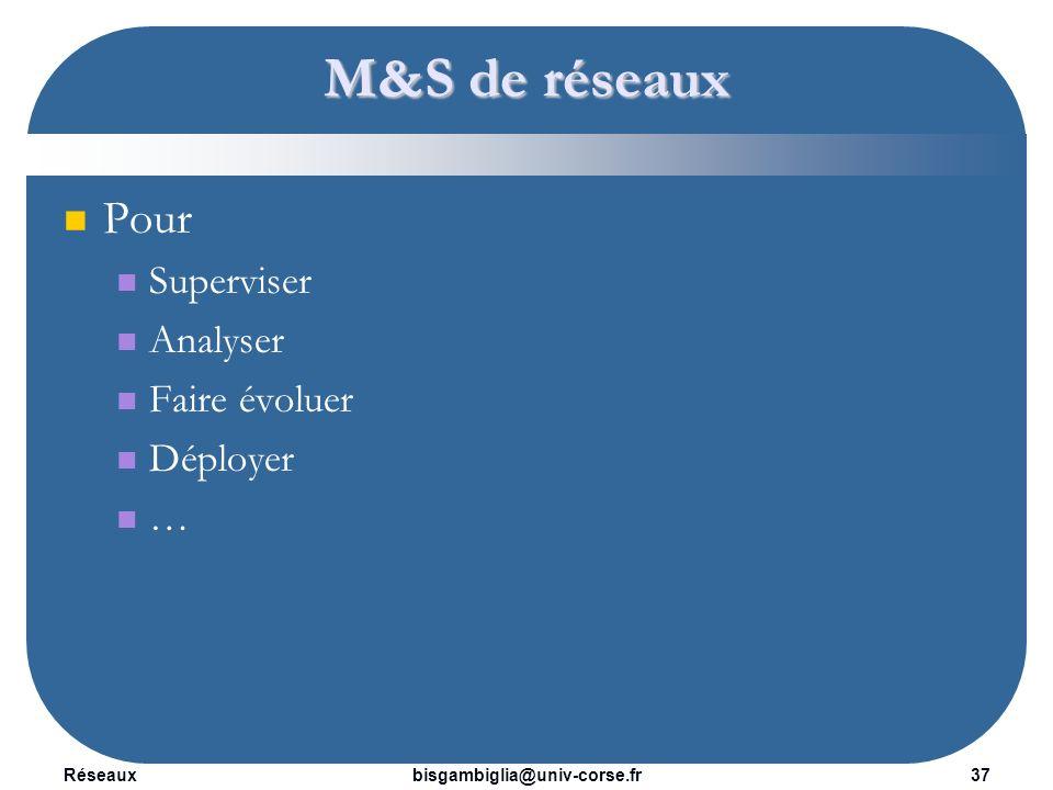 M&S de réseaux Pour Superviser Analyser Faire évoluer Déployer …