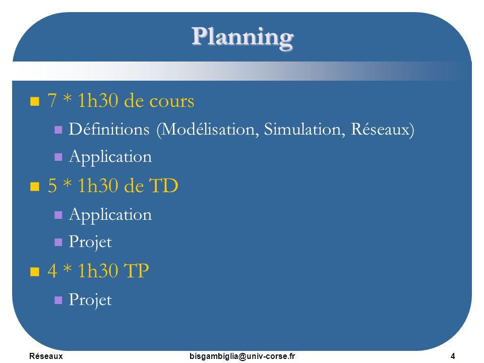 Planning 7 * 1h30 de cours 5 * 1h30 de TD 4 * 1h30 TP
