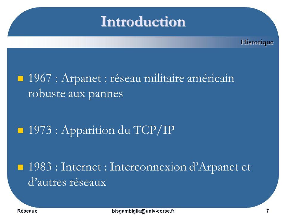Introduction Historique. 1967 : Arpanet : réseau militaire américain robuste aux pannes. 1973 : Apparition du TCP/IP.