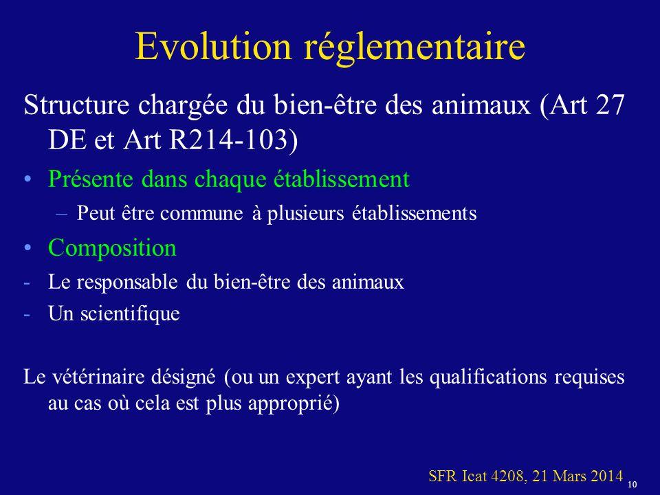 Evolution réglementaire