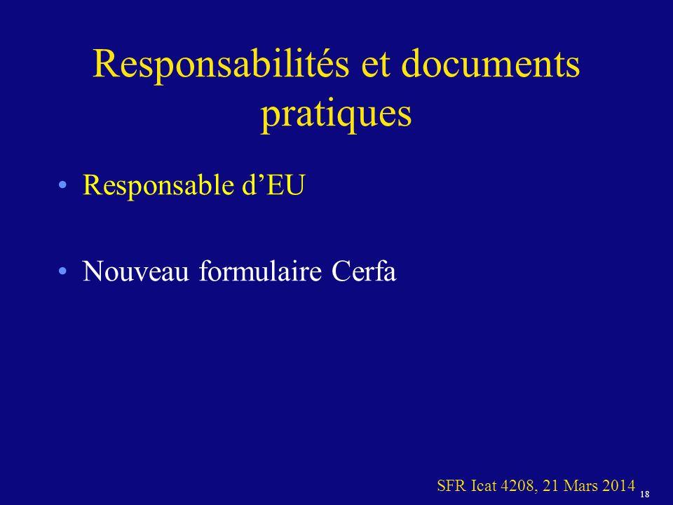 Responsabilités et documents pratiques